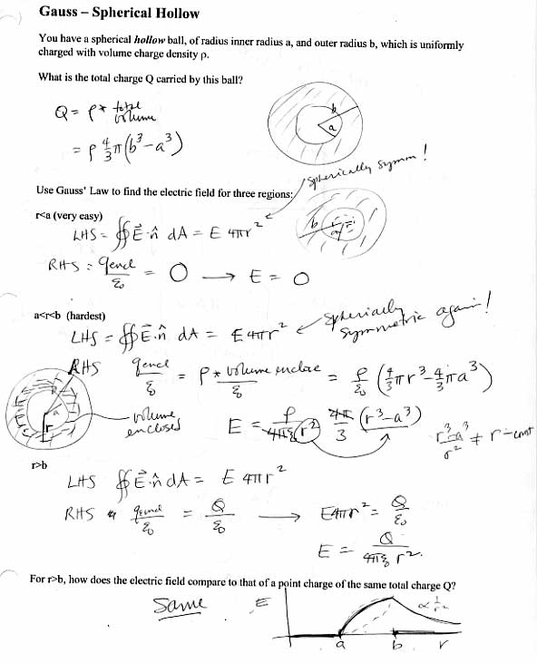 Printables Electric Field Worksheet 313 probq solns class problems using gauss law to find e field all jpgs point charge spherical symm details solid sphere with uniform density