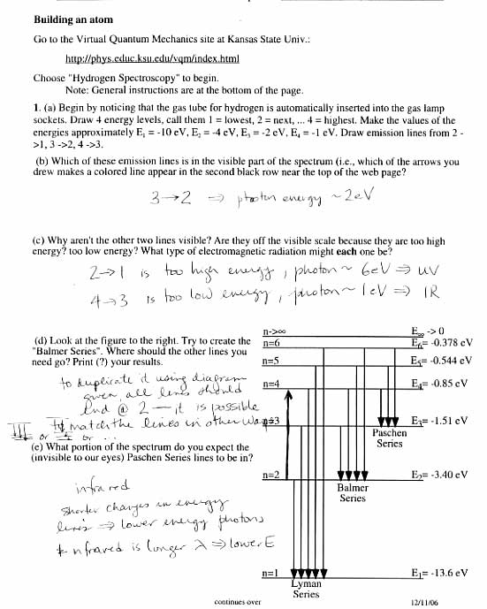 Atomic structure and waves review worksheet