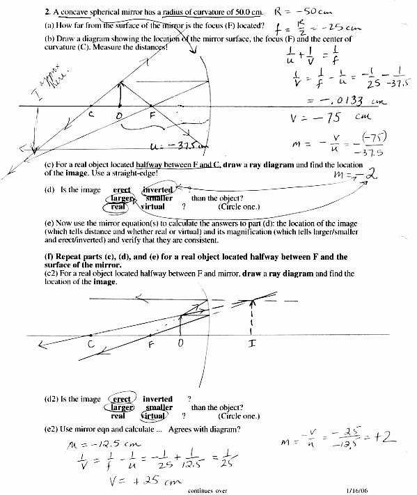 ... And Reflection Worksheet Answers on refraction and lenses worksheet