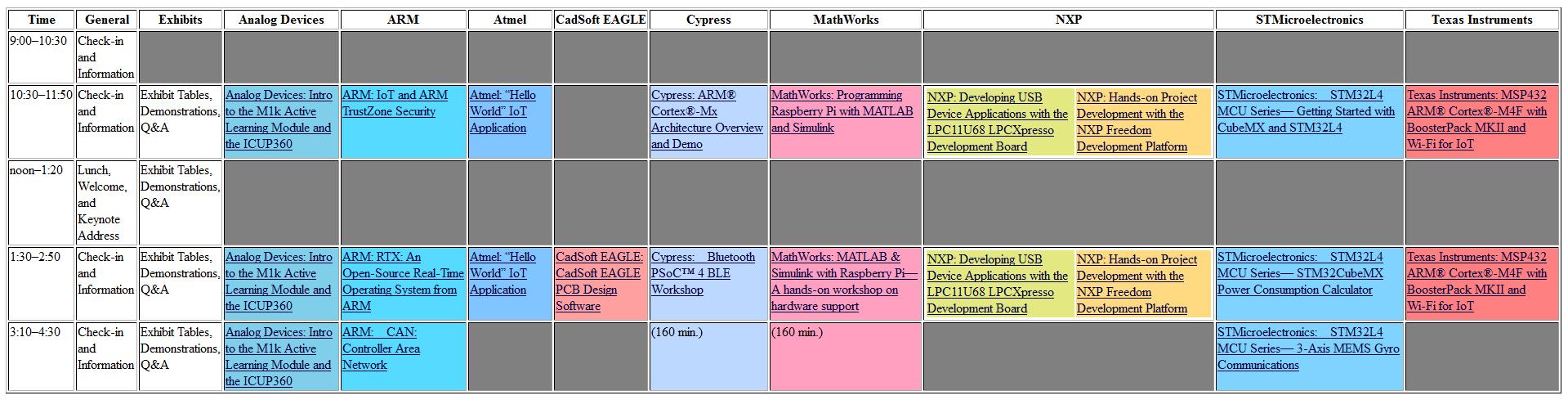 Schedule | 2015 ARM Developer Day at RIT | Rochester